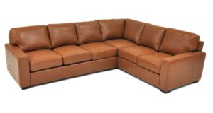 City Craft Sectional in Navajo Caramel Italian Leather