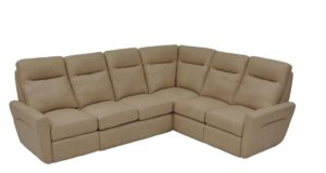 Venus Leather Reclining Sectional in Eugene Cream